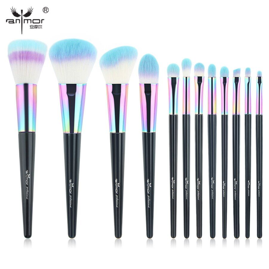 Anmor Rainbow Makeup Brushes 12 PCS Synthetic Foundation Powder Blush Eyeshadow Eyeliner Professional Make Up Brush Set CF-840