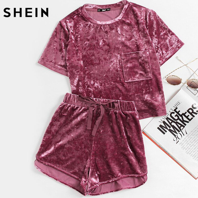 SHEIN Women Two Piece Outfits Purple <font><b>Short</b></font> Sleeve Pocket Front Crushed Velvet Top and Bow <font><b>Shorts</b></font> Set Women Sets Clothes