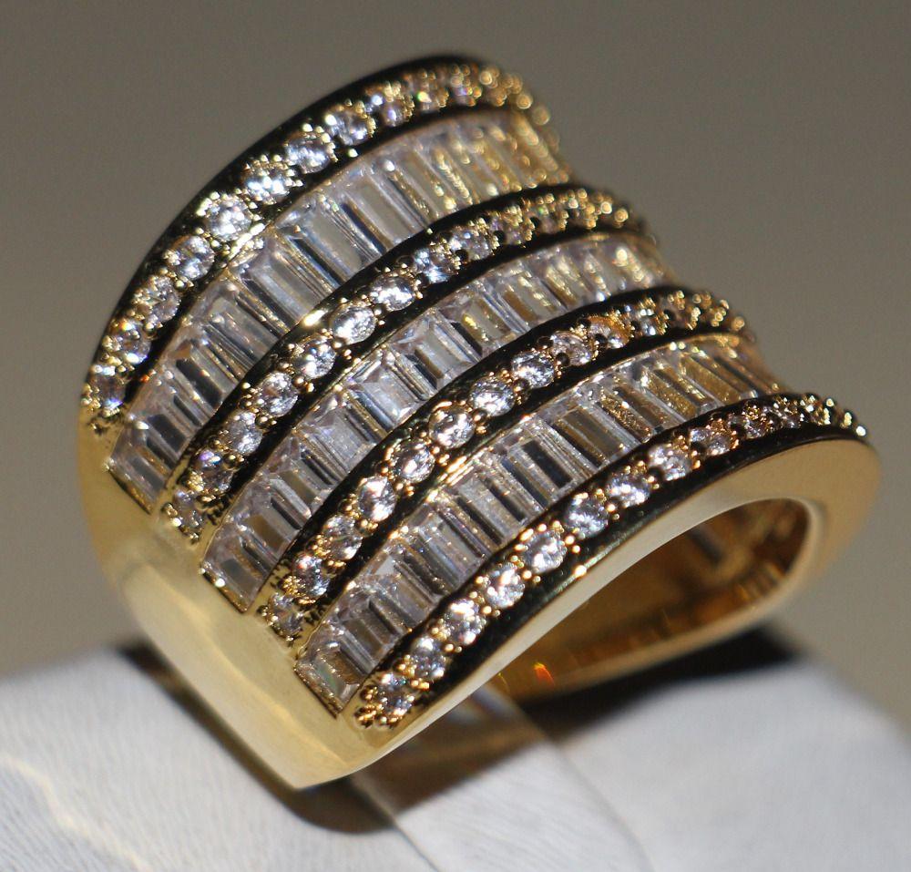 Виктория Вик принцессы изделия стерлингового серебра 925 и желтый бело-золотые 5A Ясно CZ камни Свадебные Для женщин кольцо подарок Размеры 5-11