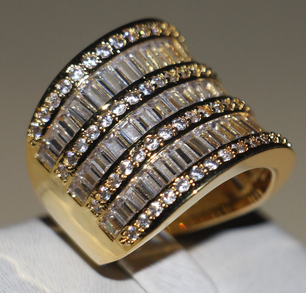 choucong Wieck Princess Jewelry 925 Sterling Silver &Yellow Gold White 5A Clear CZ stones Wedding Women Band Ring Gift Size 5-11