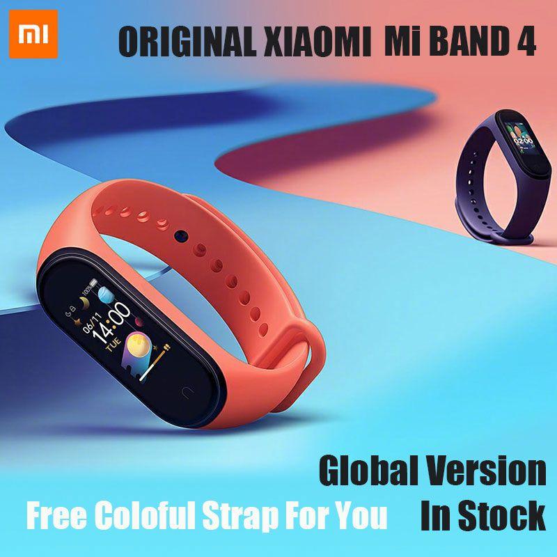 Original Xiaomi Mi Band 4 Bluetooth 5.0 Wristband Fitness Bracelet AMOLED Color Touch Screen Music AI Heart Rate