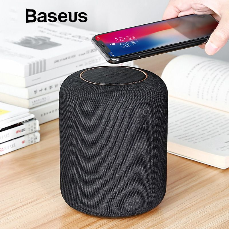 Baseus E50 Wireless Charging Bluetooth Speaker 24W Powerful Bass Wireless Speaker Desktop Wireless Charger Fast Charging Speaker