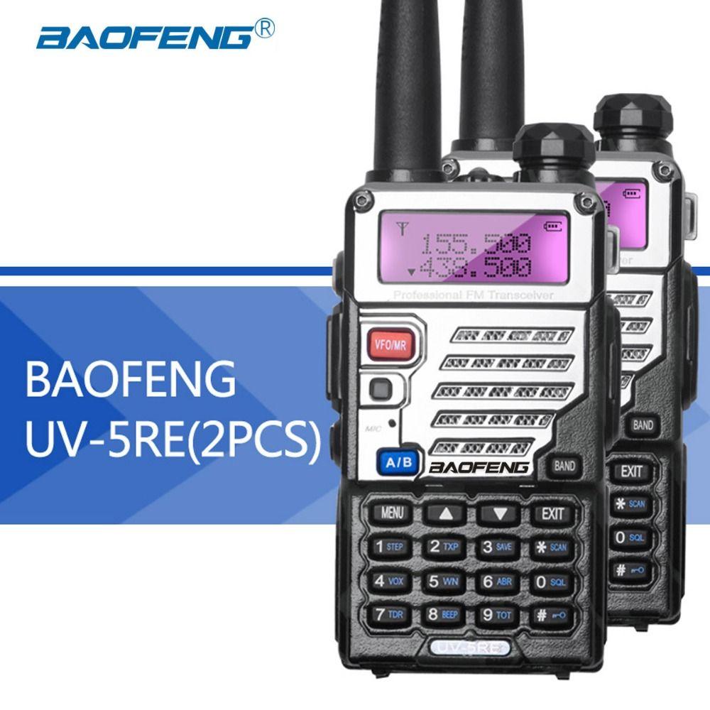2 pcs Baofeng UV5RE Talkie-Walkie UV5R Version Améliorée UHF VHF Double Montre CB Radio VOX FM Émetteur-Récepteur pour chasse Radio