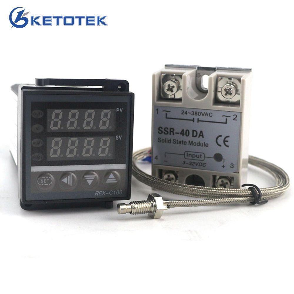 Dual Digital PID Temperature Controller Thermostat REX-C100 thermocouple K SSR 40A SSR-40DA 110V <font><b>220V</b></font> Power Supply