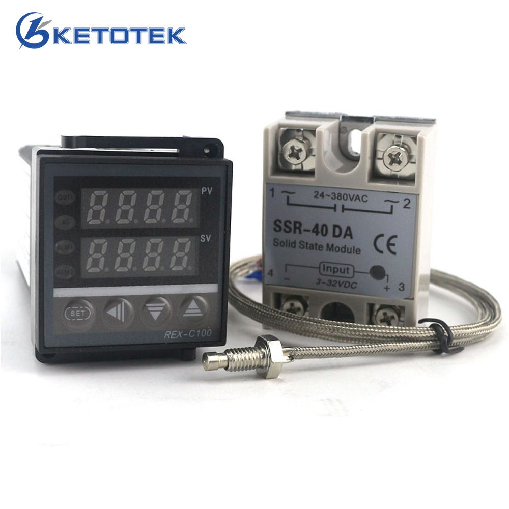 Ketoteo Dual Digital PID Temperature Controller Thermostat REX-C100 thermocouple K SSR 40A SSR-40DA 110V 220V Programmable
