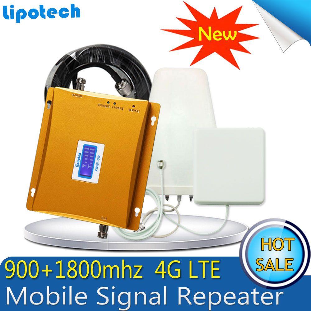 1 Satz 65dB Verstärkung GSM 900 4G LTE 1800 (FDD Band 3) Cellular Handy Signalverstärker GSM 900 DCS 1800 mhz Dual Band Booster Repetidor