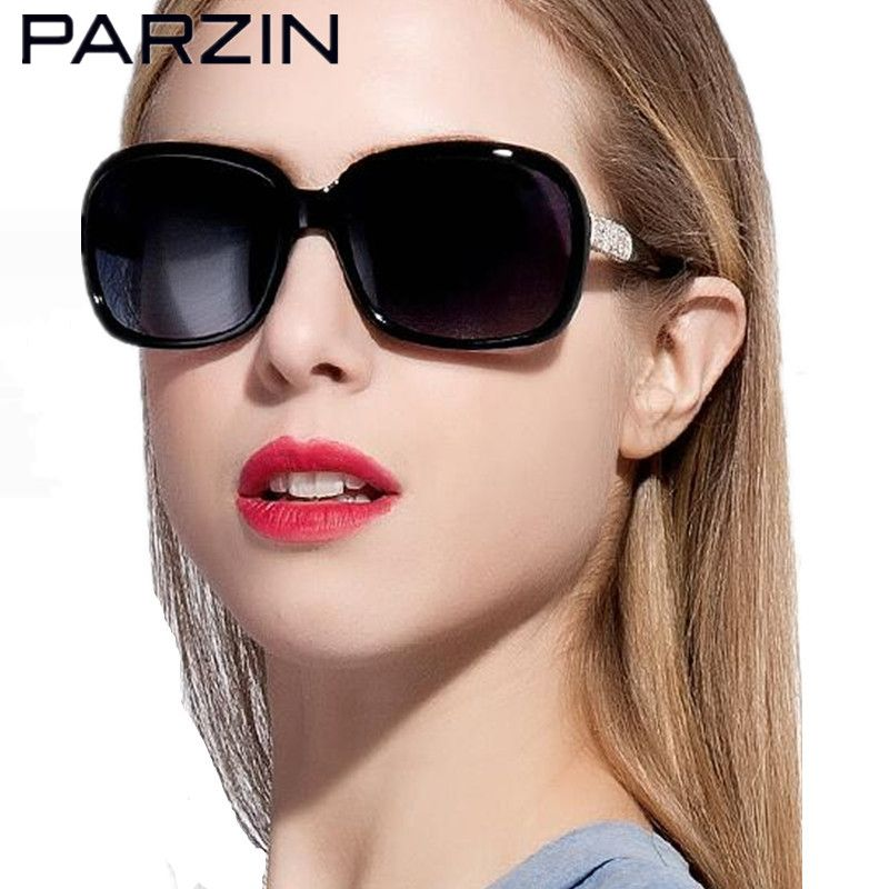 Parzin Women Sunglasses Polarized Sheet Elegant Rhinestone Luxury Sun Glasses Women's Fashion Sunglasses With Case 9606