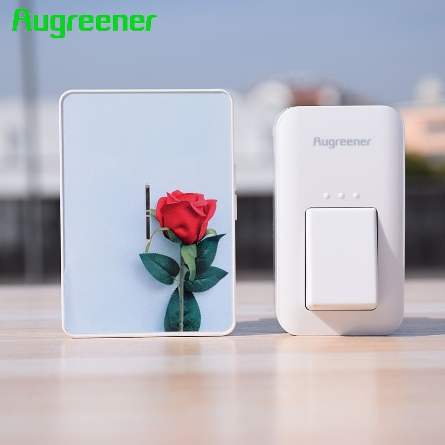 Augreener Wireless Doorbell Button Waterproof  No Battery Door Bell EU US UK Plug 100M Long Working Range With 6 Stickers