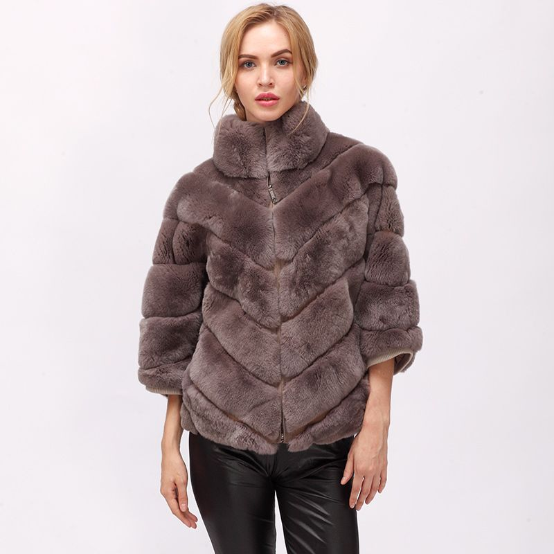 CNEGOVIK 2018 winter short rabbit fur real fur batwing coat