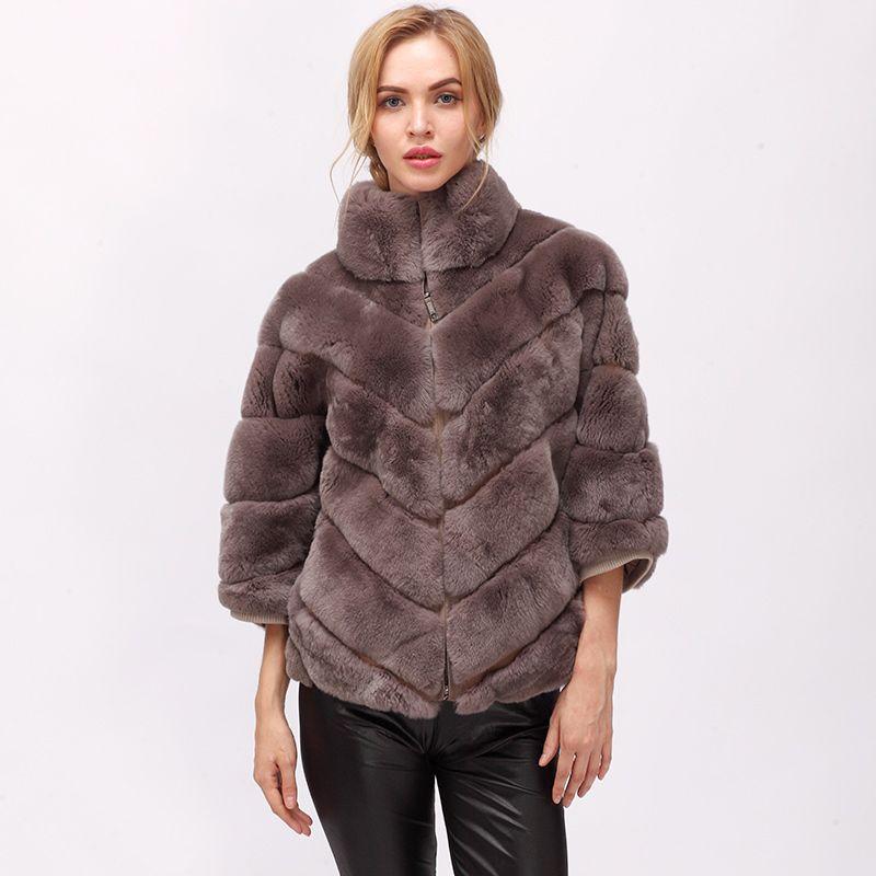 CNEGOVIK 2018 winter short rabbit fur real fur batwing coat
