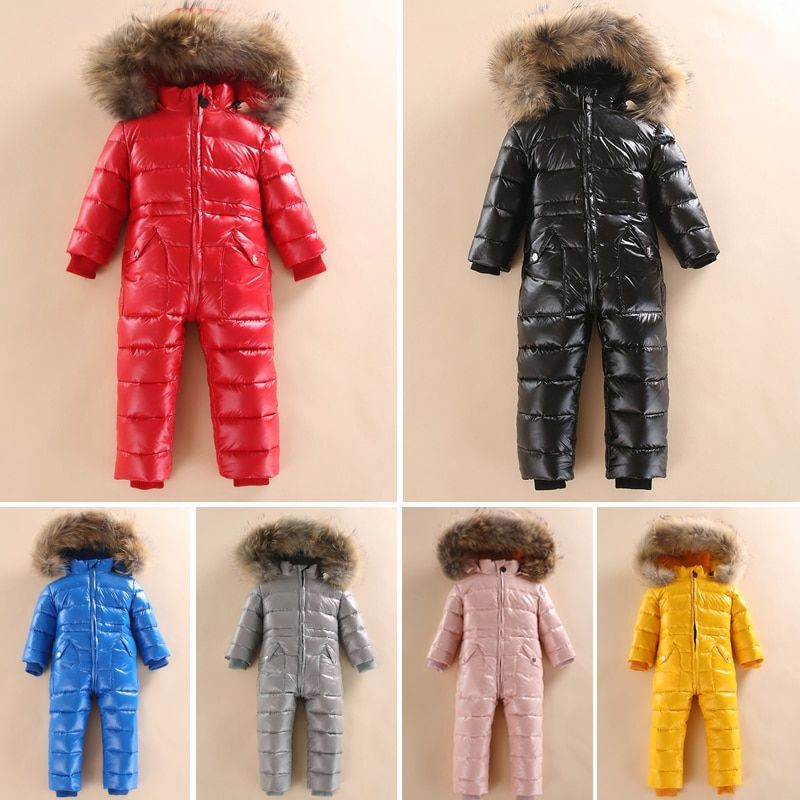 -30 Russian Winter Snowsuit 2018 Boy Baby Jacket 80% Duck Down Outdoor Infant Clothes Girls Climbing For Boys Kids Jumpsuit 2~5y