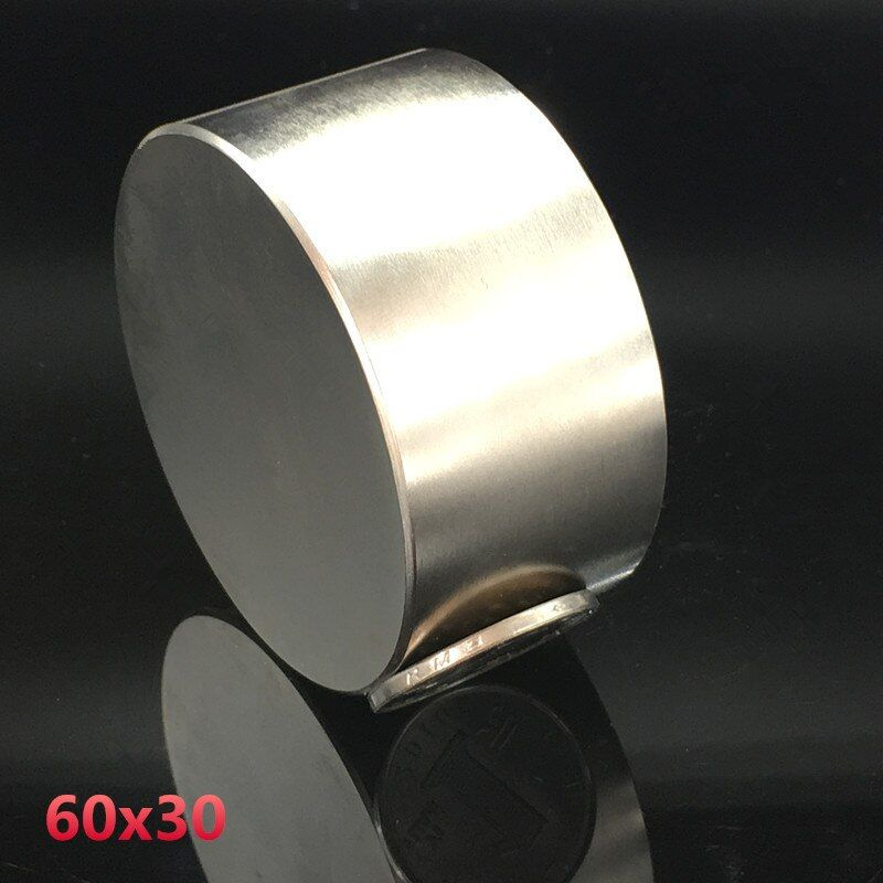 Neodymium magnet 60x30 rare earth <font><b>super</b></font> strong powerful round welding search permanent magnetic 60*30 mm gallium metal disc