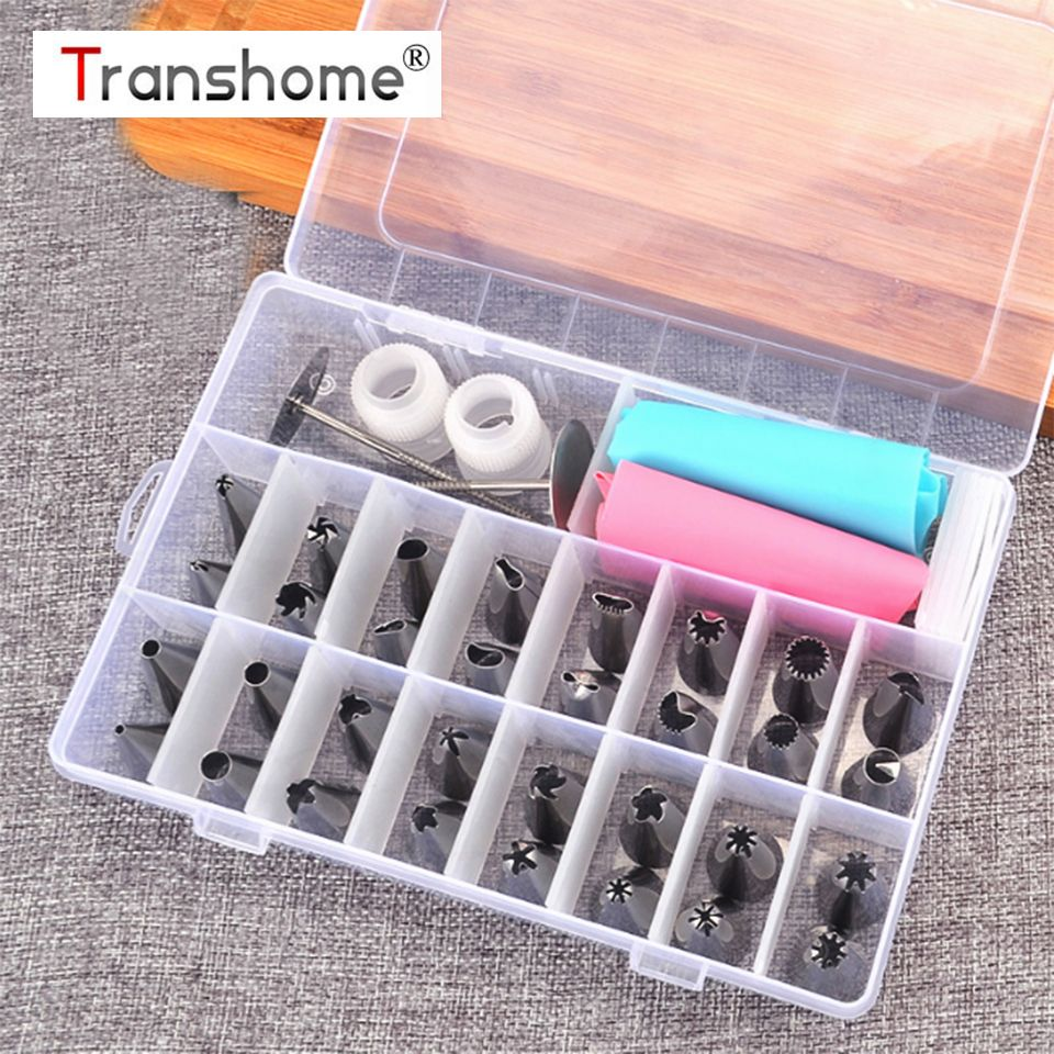 Transhome Pastry Nozzles/Converter Pastry Bag 38 Pcs/Set Confectionery Nozzle Stainless Cream Baking Tools Decorating Tip Sets