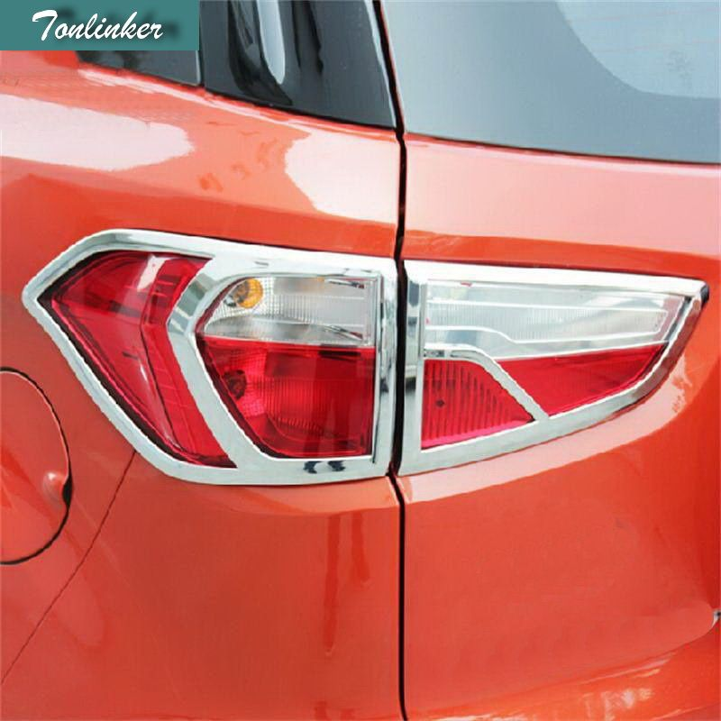 Tonlinker 2-4PCS Car Styling ABS Chrome Front Headlight Rear Headlight Frame Light Cover stickers for Ford Ecosport Accessories