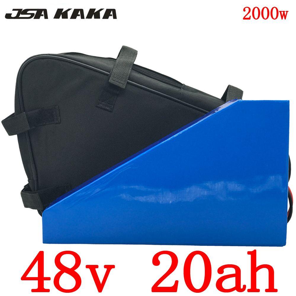 EU UNS Keine steuer 48V 20AH Dreieck batterie 48V 1000W 2000W elektrische fahrrad batterie 48V 20AH Lithium-batterie mit 54,6 V 5A ladegerät + tasche