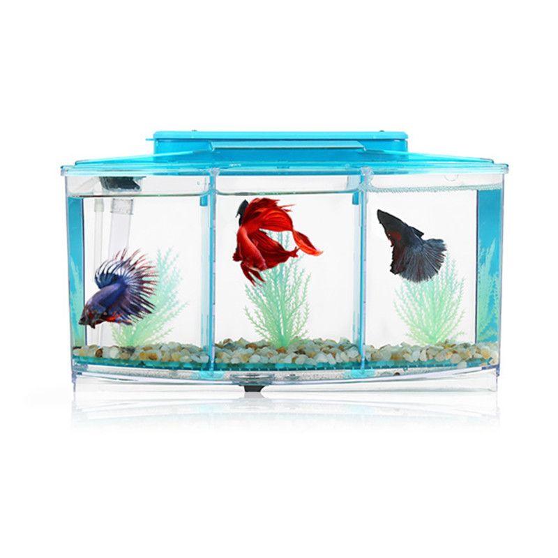 Акрил три разделяет аквариум Бетта аквариуме свет аквариум инкубатория разведение коробка Гуппи аквариум черепахи рептилий дом