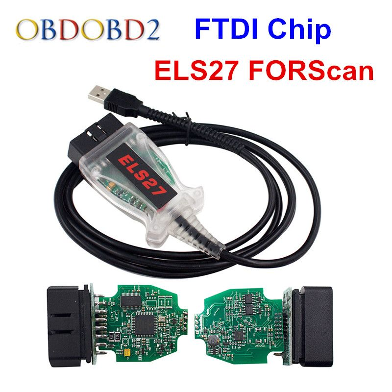 Newest ELS27 FORScan Works For Ford/Mazfa/Lincoln/Mercury ELS 27 Scanner Green PCB FTDI Chip+PIC24HJ128GP Free Ship