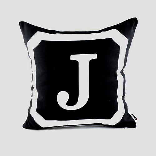 45*45 см декоративные черный монограммой Начальная буква Пледы Чехлы для подушек Наволочки для Свадебные подарки, 26 заглавными буквами