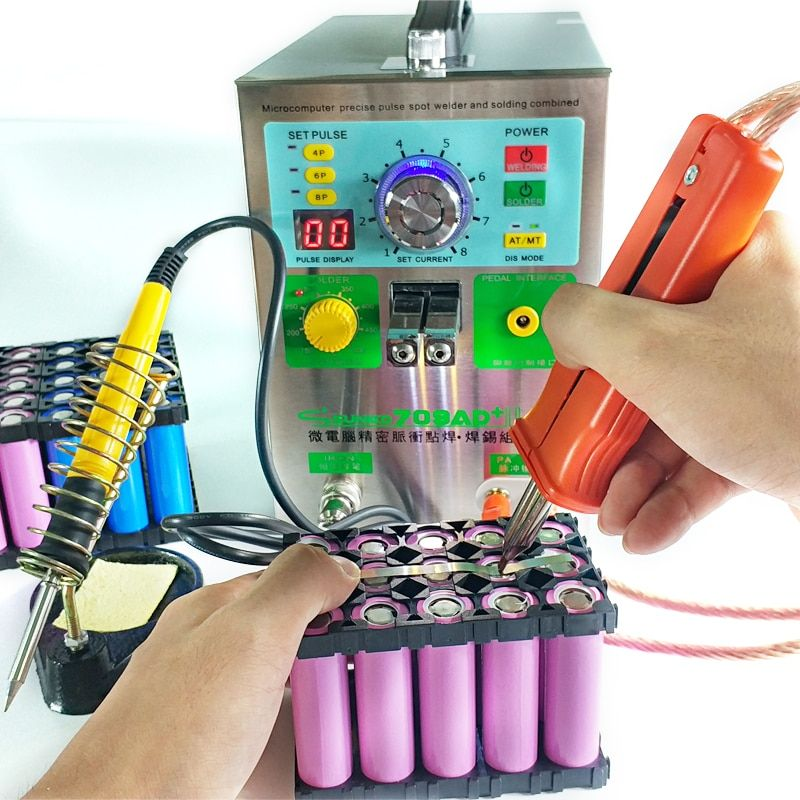 709AD+ battery spot welder machine 4in1 fixed pulse moving pulse spot welding induction automatic pulse spot welding solder iron