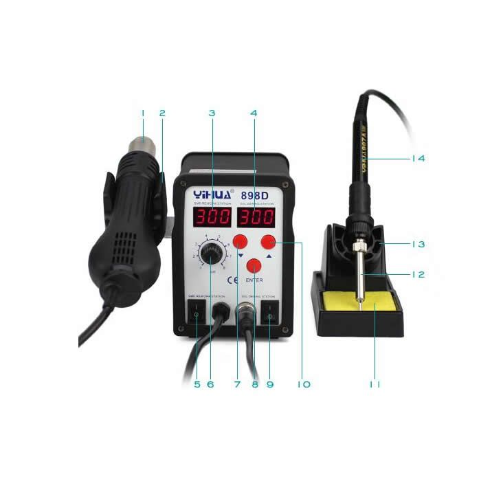 YIHUA 898D SMD Soldering station rework machine with hot air gun solder iron 2 in 1