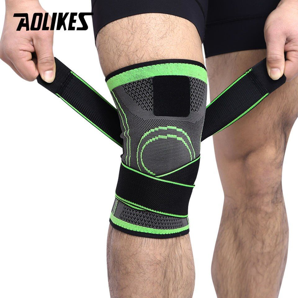 AOLIKES 1PCS 3D Weaving Pressurization Knee Brace Basketball Hiking Cycling Knee Support Professional Protective Sports Knee Pad