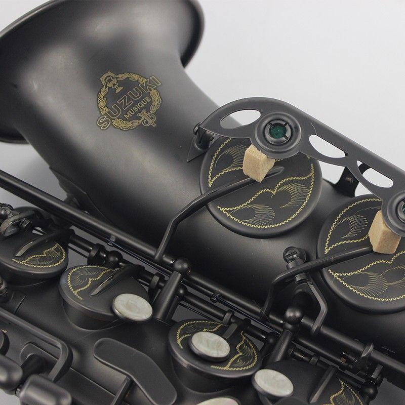 UPS / DHL Free Promotional SUZUKI Alto Saxophone E flat Matte Black Musical Instruments Saxophone Professional Grade Encarved