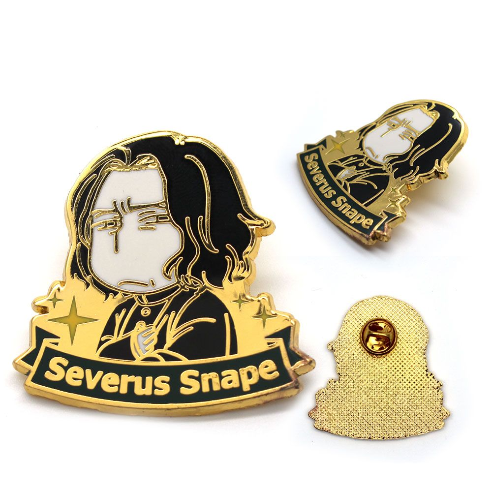 Harri Potter Draco Malfoy Severus Snape Cartoon Zeichen Gold Metall Abzeichen Brosche Pin Brust Taste Ornament Cosplay Kostüm Hot