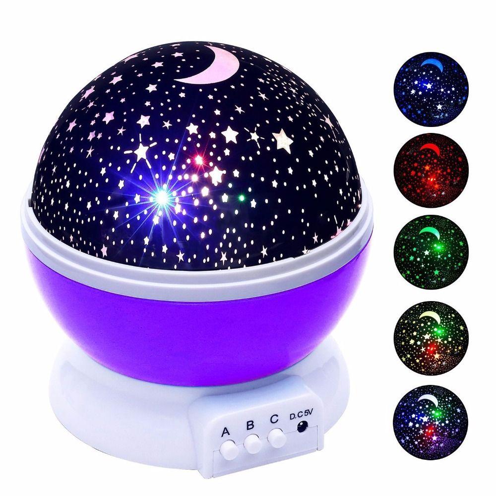 LEDERTEK <font><b>Stars</b></font> Starry Sky LED Night Light Projector Luminaria Moon Novelty Table Night Lamp Battery USB Night light For Children