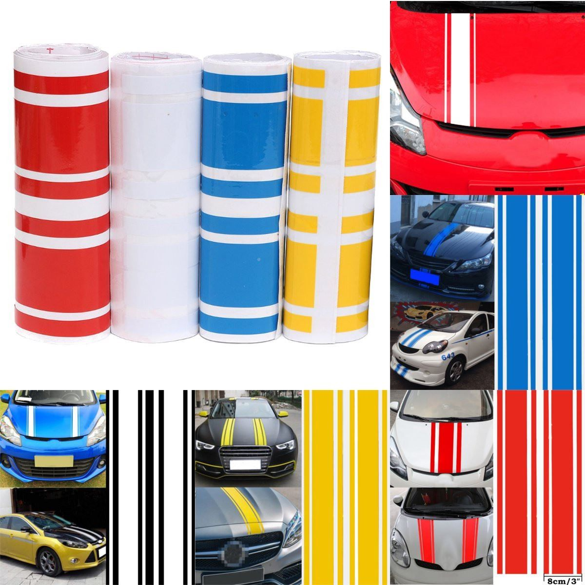 183 x 17.2cm Car-Styling 3D Car Hood Side Vinyl Stripe Sticker Body Bumper Decal Engine Cover Pinstripe 5 Colors