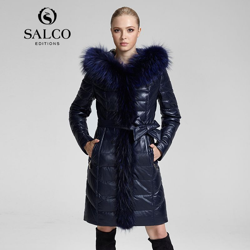 SALCO 2016 the latest European and American dress raccoon fur collar ladies leather hooded down jacket and long sections