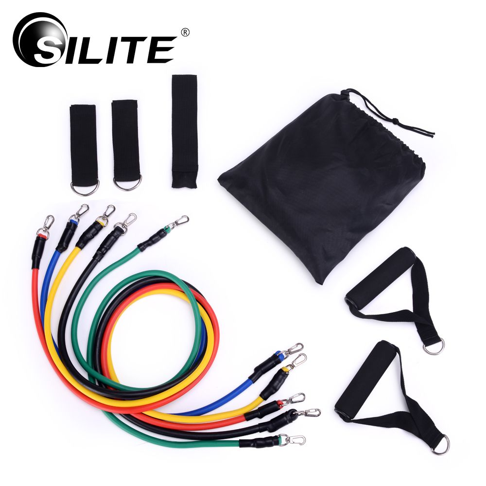 SILITE 11pcs/set Fitness Equipments Workout Resistance Bands Latex Exercise Pilates Tubes <font><b>Pull</b></font> Rope Expanders Training Practical