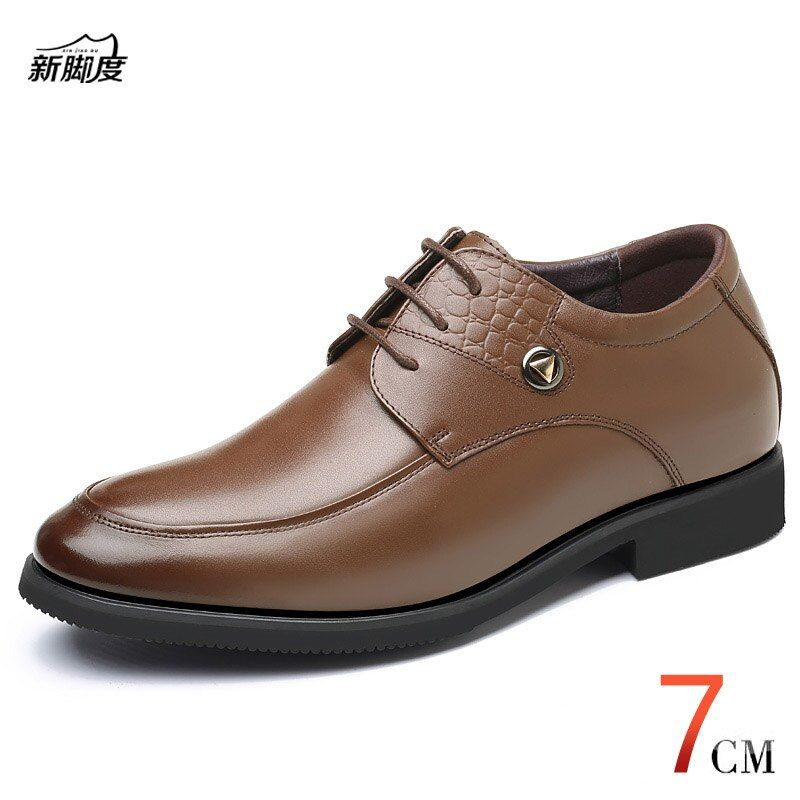 New Height Increasing 7 CM Genuine Leather Men's Derby Dress Shoes With Invisible Elevator Insole for Wedding Party Wear