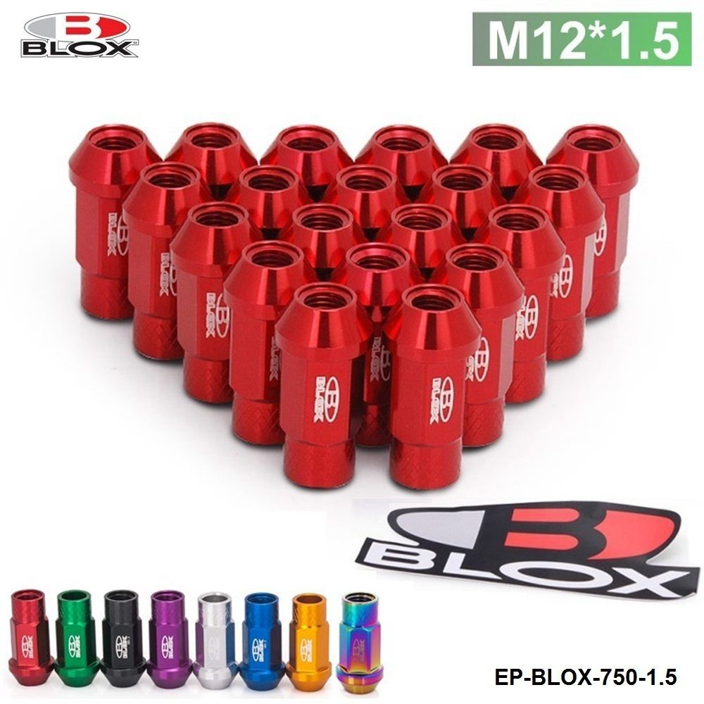 Blox Racing Forged 7075 Aluminum Wheel Lug Nuts P 1.5, L: 50mm 20Pcs EP-BLOX-750-1.5