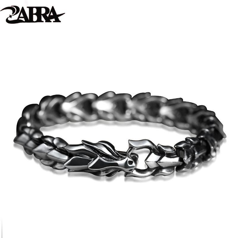 ZABRA 925 Sterling Silber Luxus Kühlen Drachen Armband für Männer Vintage Steampunk Rock Biker Männlichen Hand Schmuck Anpassen Länge