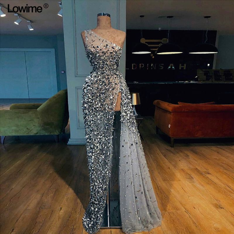 Custom Made A-line One-Shoulder Evening Dress 2018 With Heavy Beading Crystal Sequined Floor Length Prom Party Dresses