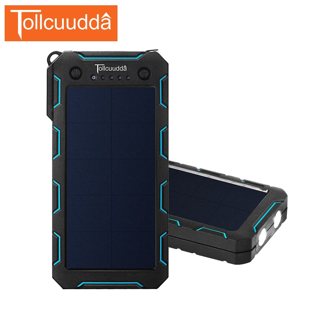 Tollcuudda 12000mAh Solar Power Bank Charger Bateria Externa PowerBank Portable  Poverbank For Mi Iphone Xiaomi External Battery