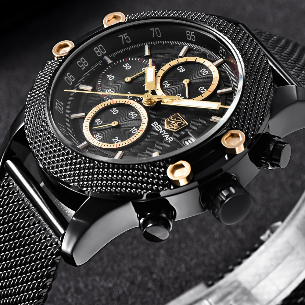BENYAR Watches Men Sport Chronograph Fashion Watch Men's Mesh Rubber Band Waterproof Casual Quartz Watch Gold Saat