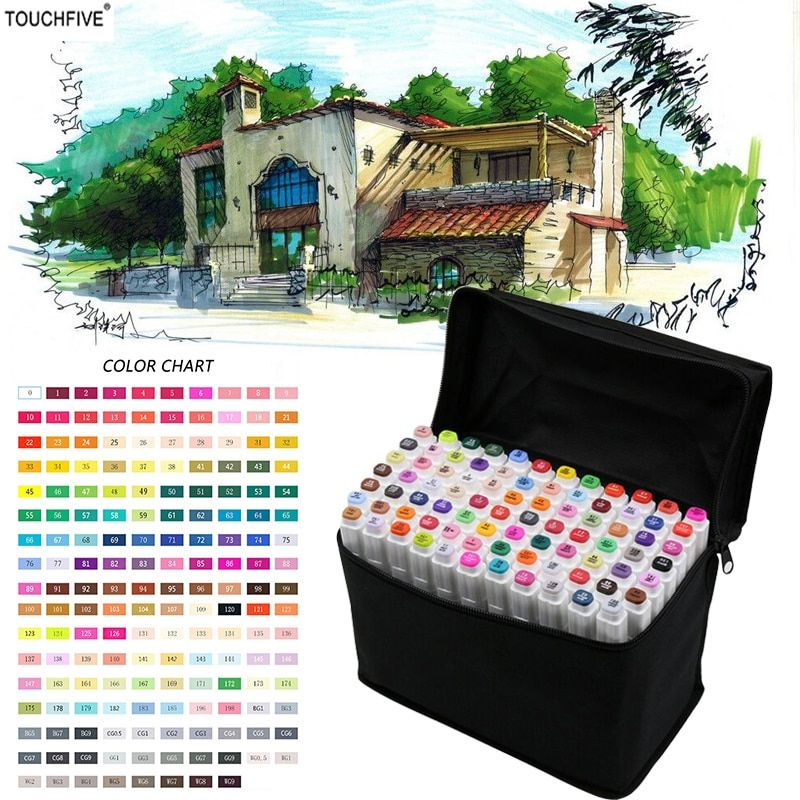 TOUCHFIVE Markers 36/48/72/168 ColorsFor Draw Manga Animation Design 168 Color Dual Headed Alcoholic Oily Based Ink Marker