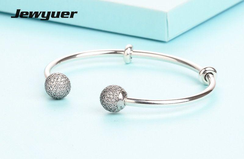 2017 verano colección plata abierto brazalete pulseras 925 encantos de plata del grano pulsera DIY fina jewyuer joyería YSZ039