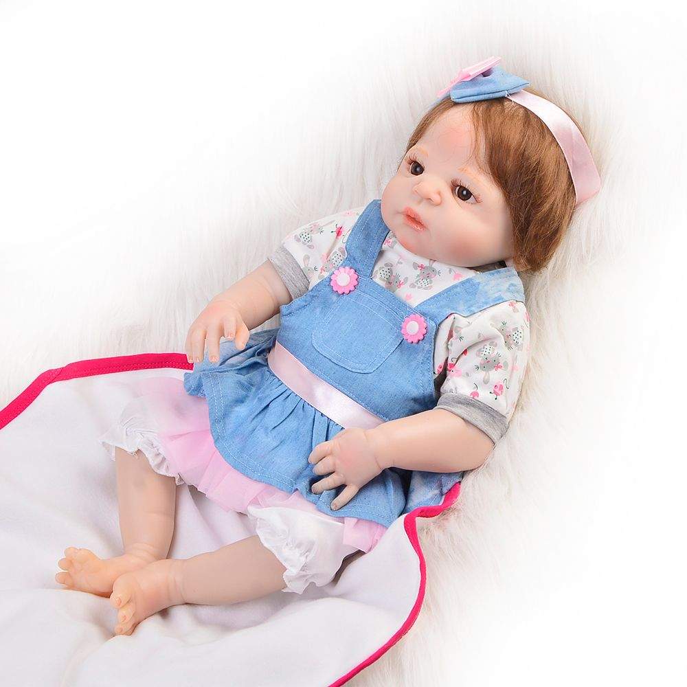 Handmade 23 Inch Full Silicone Reborn Baby Girl Doll Fiber Hair So Truly Looking Baby Doll Toy For Kids Xmas Gifts Best Playmate