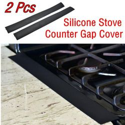 2Pcs Kitchen Silicone Stove Counter Gap Cover Easy Clean Heat Resistant Slit Fill Prevent spill out Easy to remove and Clean