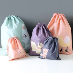 1pc Waterproofing  Cartoon Animals Printed Storage Bags Baby Clothing Kids Toys Organizer Drawstring Cosmetic Candy Pouch Bags