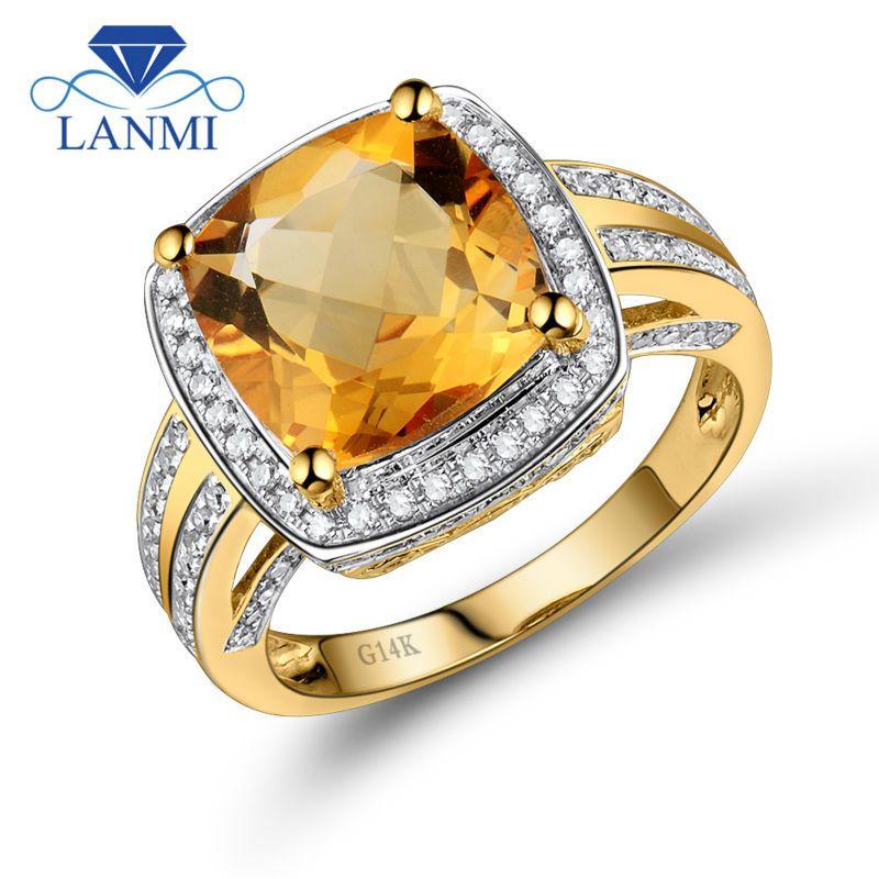 Lanmi Edlen Schmuck Ringe Vintage Kissen 10mm Citrin Und Diamant Ring 14 karat Gelb Gold Natürliche Edelstein Ring Für verkauf WU031