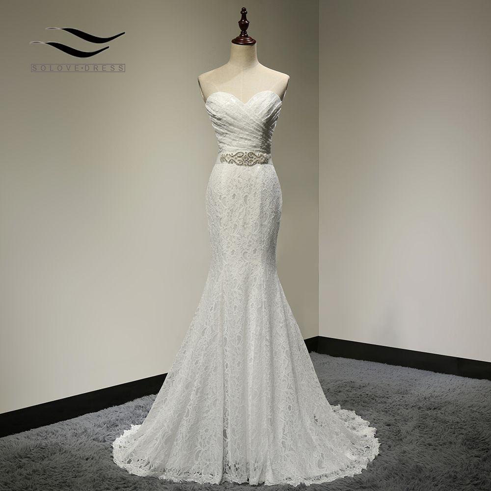 Bridal Wedding Gown Real Photos White Lace Cheap Mermaid Wedding Dress Train 2017 Vintage Sash vestido De noiva 2017 SLD-W001