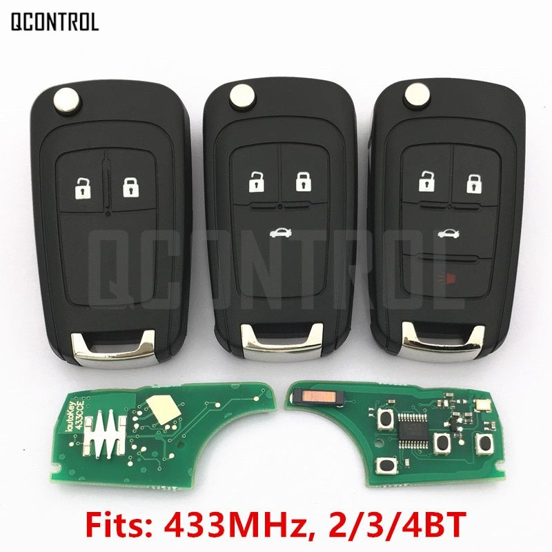 QCONTROL Car Alarm Remote Key fit for Chevrolet Malibu Cruze Aveo Spark Sail 2/3/4 Buttons 433MHz Door Lock
