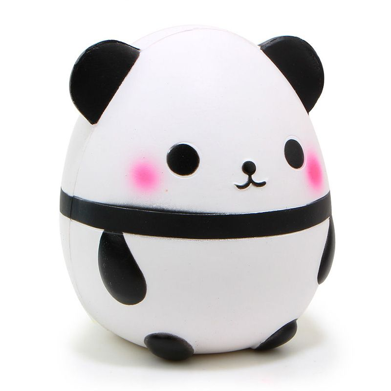Jumbo 14CM Panda Eggs Animal Soft Squeeze Stretch Compress Squishy Decompression Kids Doll Toys Art Mobile Phone Straps T0.11