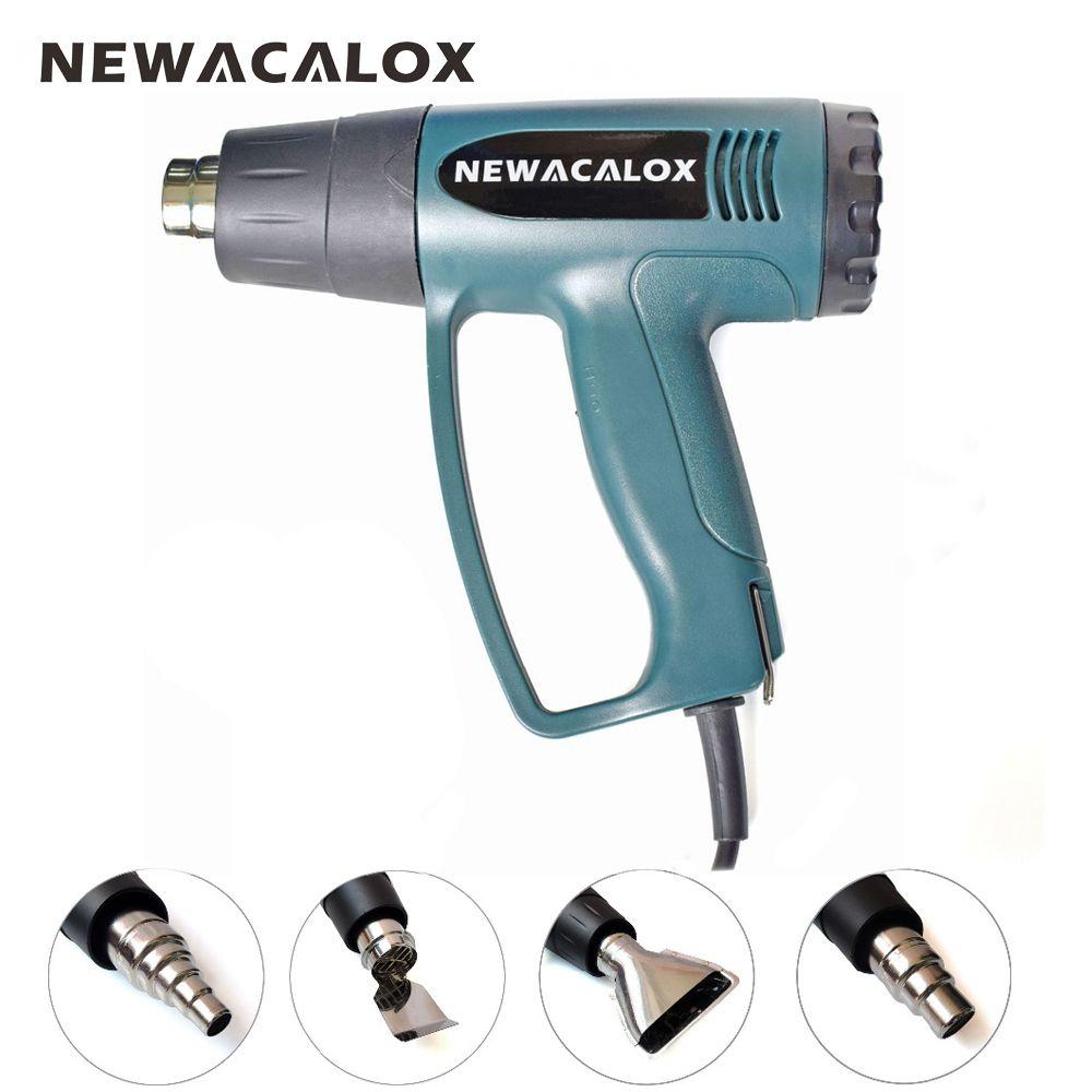 NEWACALOX 2000W 220V EU Plug Industrial Electric Hot Air Gun Thermoregulator Heat Guns Shrink Wrapping Thermal Heater +4 Nozzles