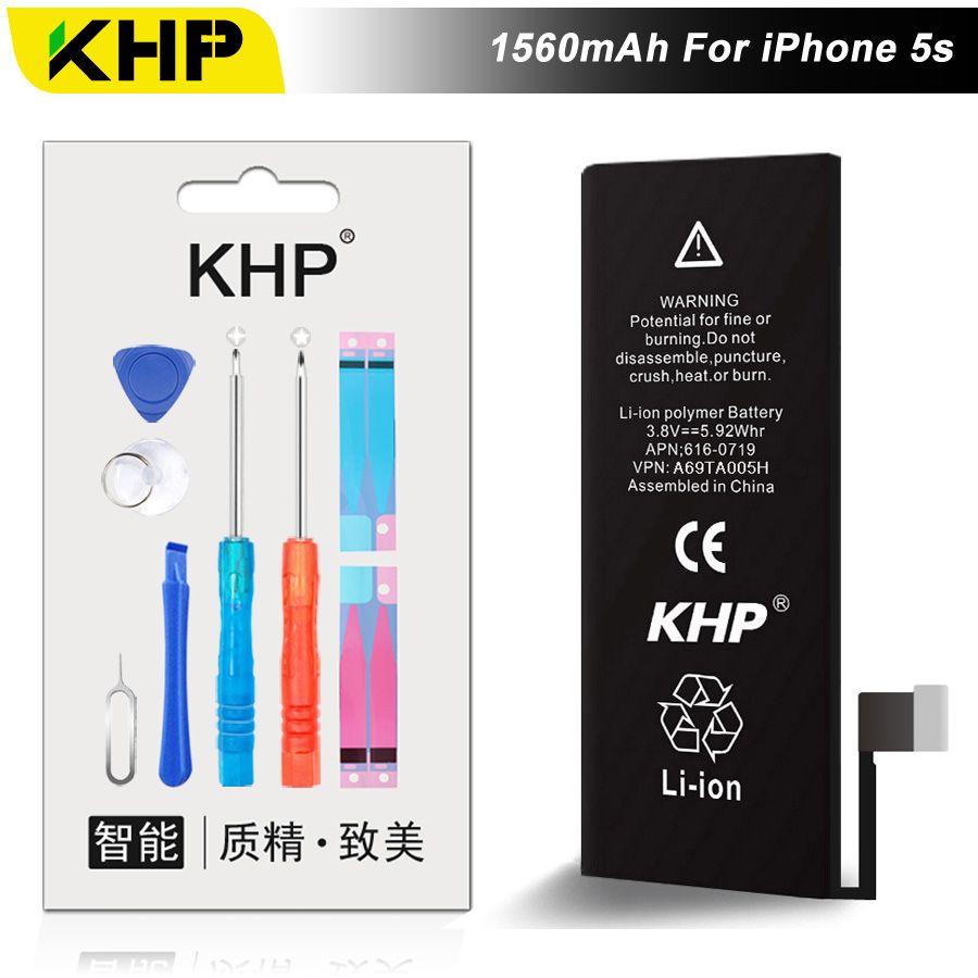 NEW 2017 100% Original KHP Phone Battery For iPhone 5S Capacity 1560mAh Repair Tools 0 Cycle Replacement Batteries Sticker