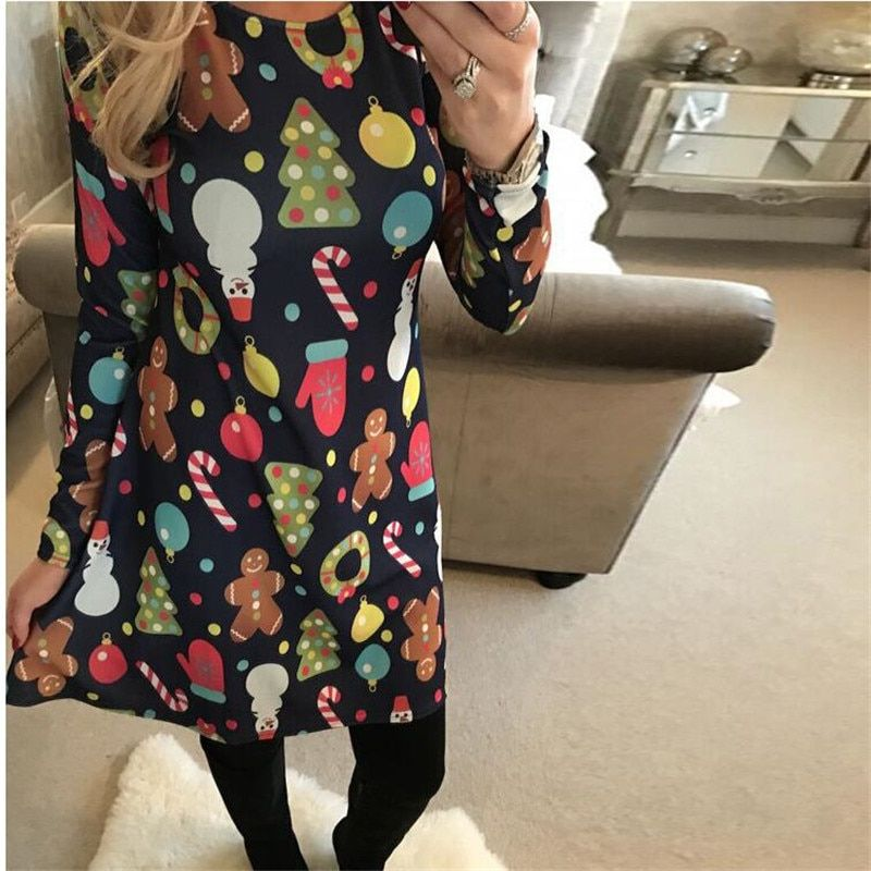 Large Sizes 2019 New Autumn Women Casual Long Sleeve Cute Christmas Tree Snowman Dresses Loose Plus Size Dress Vestidos 4XL 5XL