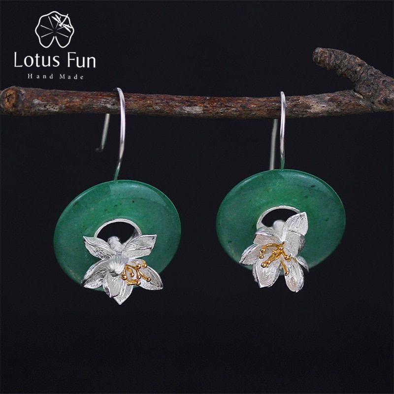 Lotus Fun Real 925 Sterling Silver Natural <font><b>Stone</b></font> Creative Handmade Fine Jewelry Lotus Whispers Drop Earrings for Women Brincos